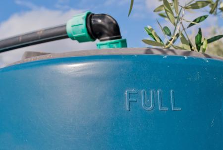 dep�sito agua: tanque de agua azul bajo un olivo