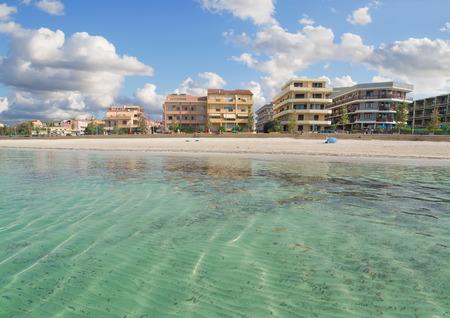 skim: Alghero promenade seen from the sea Stock Photo