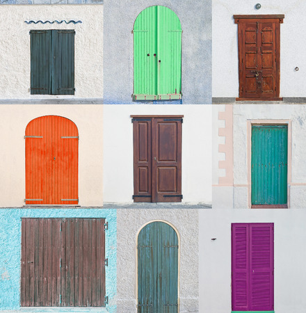collage of nine colored wooden doors
