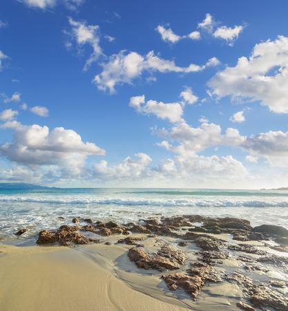 skim: brown rocks in Le Bombarde beach, Sardinia
