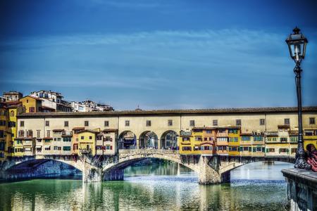 arno: Ponte Vecchio over Arno river in hdr tone mapping Stock Photo