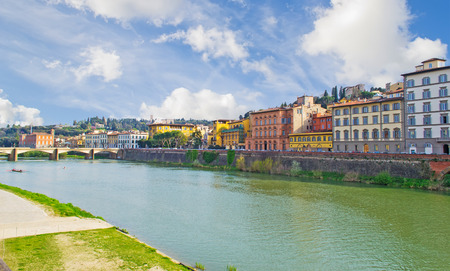 river bank: Arno river bank in Florence, Italy