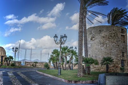 sighting: sighting tower in Alghero promenade in hdr