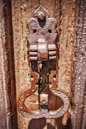 deadbolt: close up of an old deadbolt in hdr tone mapping effect Stock Photo