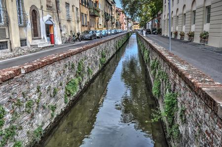 via: canal in Via del Fosso in Lucca, Italy