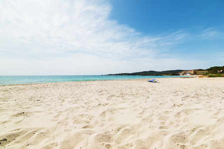 le: Le Bombarde beach on a sunny day in Alghero Stock Photo