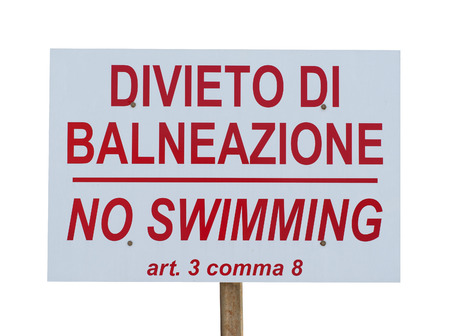 no swimming: no swimming sign on a white background Stock Photo