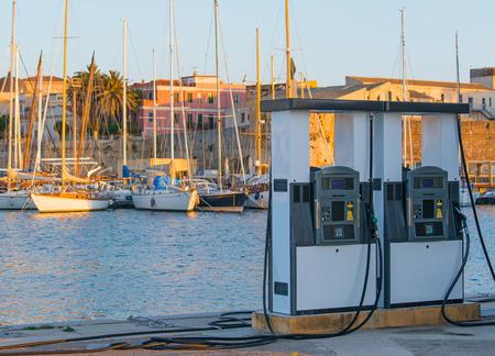fuel station for boats in Alghero dock, Sardinia Stock Photo