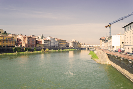 arno: view of Arno river in Florence in vintage tone