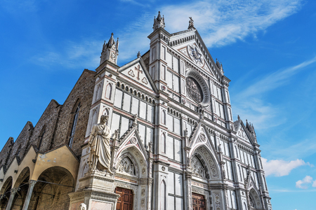 Santa Croce cathedral and Dante Alighieri statue in Florence, Italy