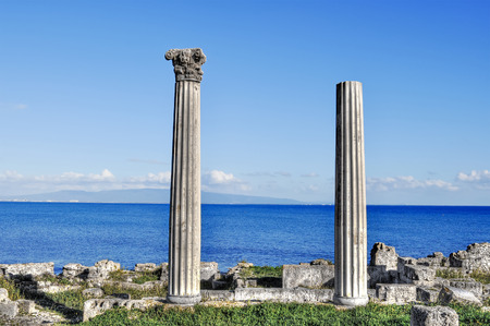 ancient columns in Tharros archeological site, Sardinia