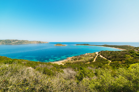 Capo Coda Cavallo coastline and turquoise sea Stock Photo