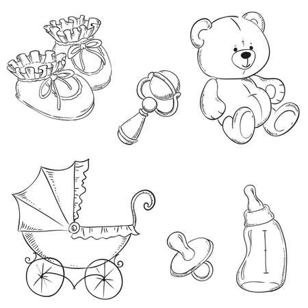 booties: collection of baby items. vector illustration contour