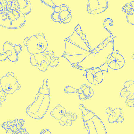 rattle: Cute baby seamless pattern background yellow Illustration
