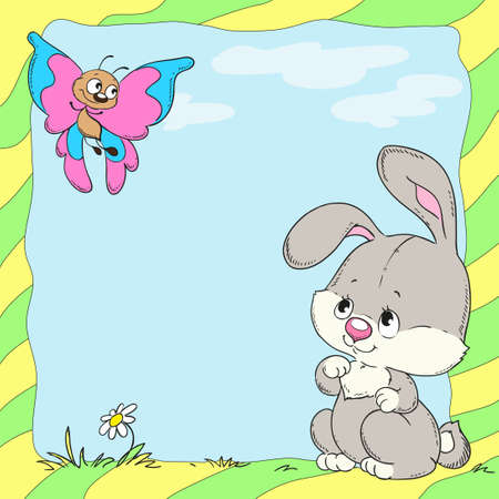 butterfly rabbit: children frame with rabbit and butterfly