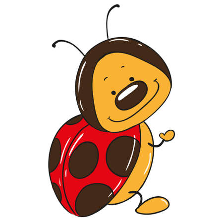cute cartoon: Cute ladybug cartoon character