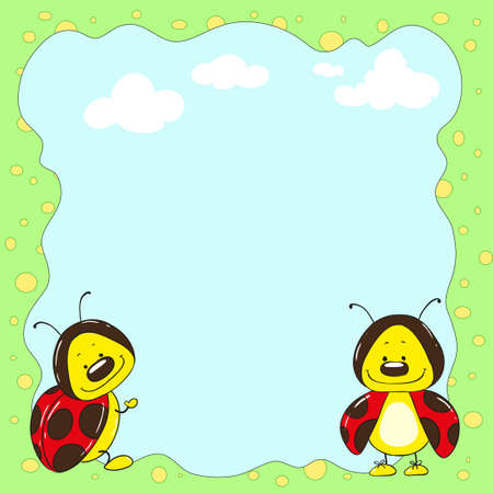 mariquitas: Marco de las mariquitas lindo personaje de dibujos animados Vectores