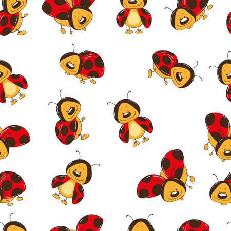 cartoon bug: Seamless background of ladybugs cartoon