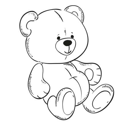 Cute Teddy Bear. Black Outline For Coloring Book. Vector Contour ...