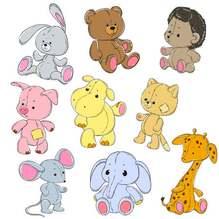 Collection of soft toys. Cartoon toy rabbit, elephant, hippo, cat, bear, giraffe, mouse, hedgehog, pig. Vector doodle characters. Vettoriali