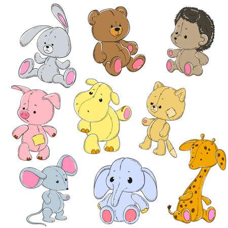 Inzameling van zacht speelgoed. Cartoon speel goed konijn, olifant, hippo, kat, beer, giraf, muis, egel, varken. Vector doodle karakters.