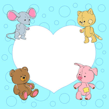 cute bear: Cute baby frame with animals. Plush mouse, cat, bear, pig.