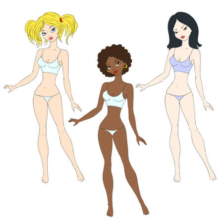 underclothes: Cartoon illustration of an attractive girls.