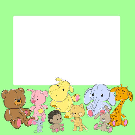 giraffe frame: Frame with cute toy animals. Space for your text. The elephant, the hedgehog, giraffe, cat, bear, mouse, pig, rabbit, hippo.