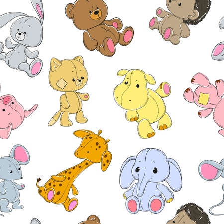 cat and mouse: Seamless pattern with cute animals on a white background. Elephant, giraffe, hippopotamus, bear, pig, cat, mouse, rabbit, hedgehog. Vector.