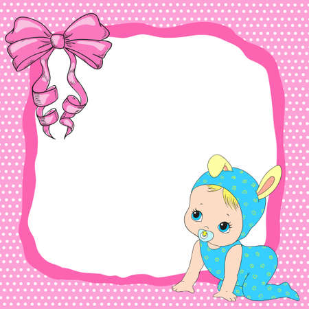 cute baby girls: Children postcard with a bow and a baby. Vector baby frame