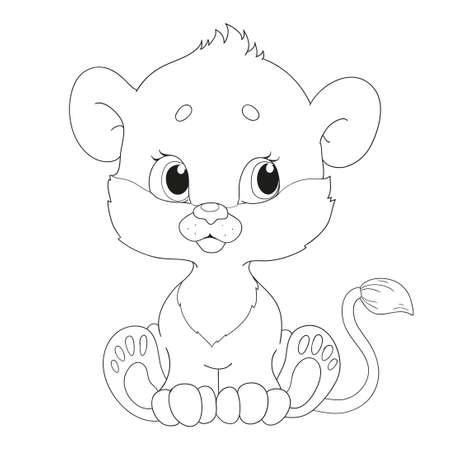 Mignon petit personnage d'un lionceau. Livre de coloriage