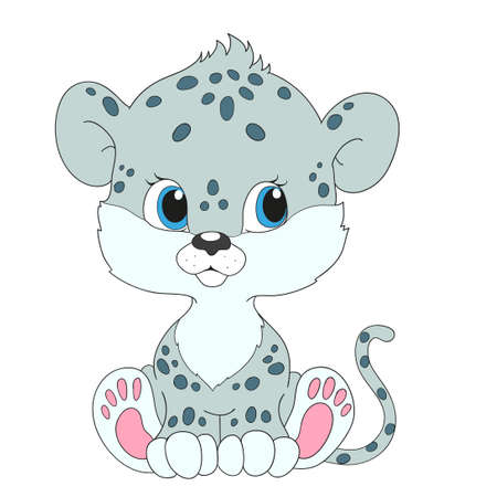snow leopard: Little snow leopard. Cartoon character