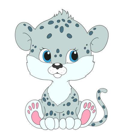 Little snow leopard. Cartoon character
