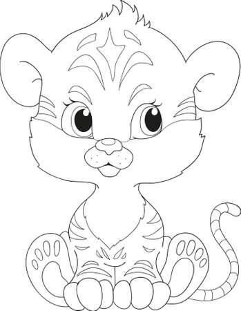 kind: Tiger coloring book. Cartoon character