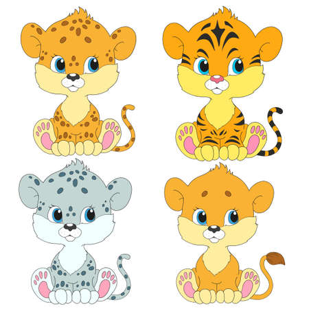 cubs: Set of cartoon characters. Cubs cute. Lion, leopard, tiger, snow leopard.