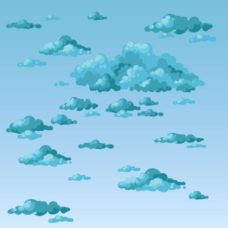 fluffy clouds: Fluffy clouds on an overcast day. Vector.