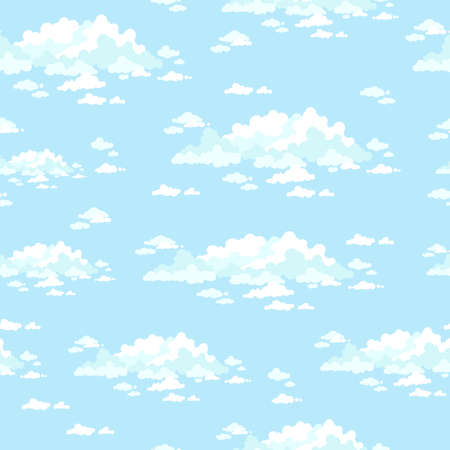 fluffy: Fluffy clouds in the clear sky. Seamless vector background. Illustration
