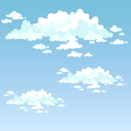 fluffy clouds: Fluffy clouds on a blue sky on a clear day. Illustration