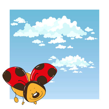 ladybug: Ladybug in the sky. Cute cartoon character.