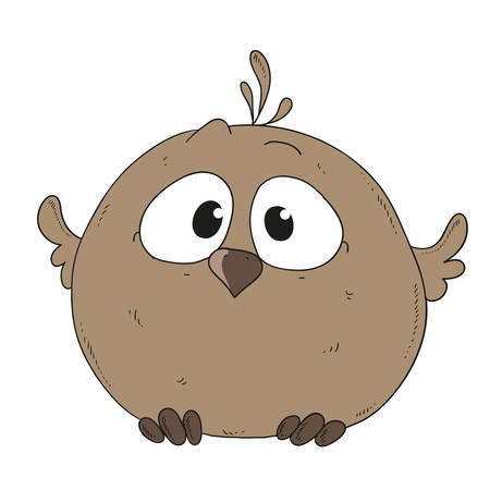 Cartoon character sparrow. Little chick vector illustration