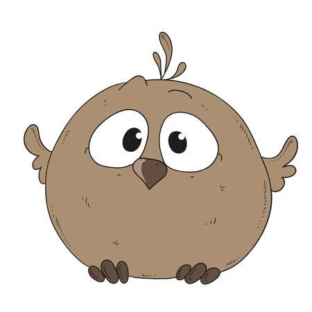 Cartoon character sparrow. Little chick vector illustration