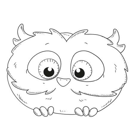 owlet: Cute cartoon owlet. Owl character for coloring book vector