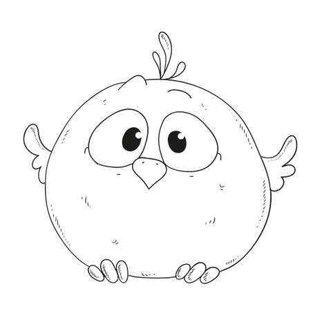 cute: Cartoon cute sparrow. Character for coloring book vector