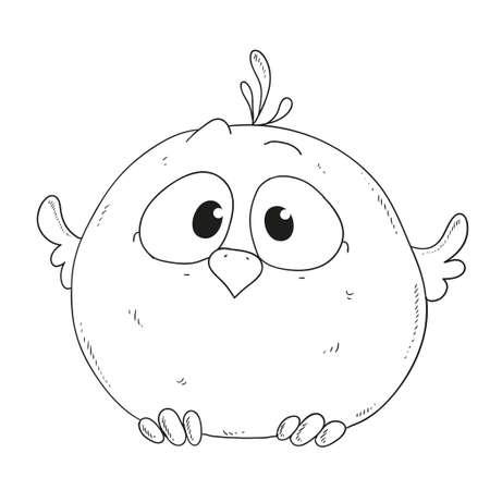 sparrow: Cartoon cute sparrow. Character for coloring book vector