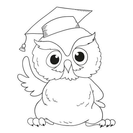 Cartoon character graduation owl. For coloring book 일러스트