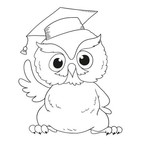 Cartoon character graduation owl. For coloring book Иллюстрация