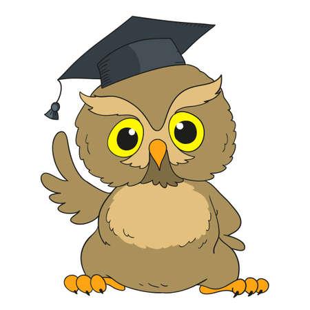 Smart owl. Cartoon character graduation owl. Vector 向量圖像
