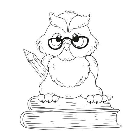 Cartoon Character Graduation Owl With Glasses. For Coloring Book ...