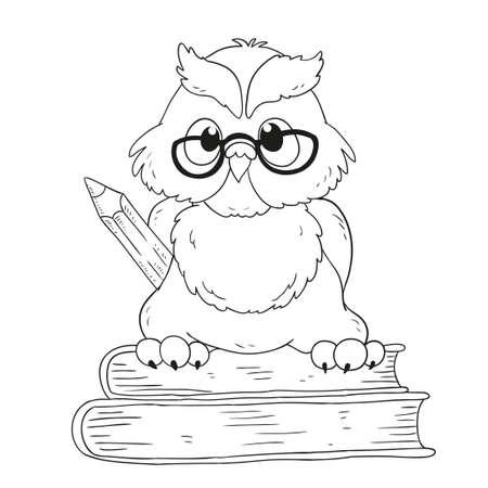 Cartoon Charakter-Abschluss-Eule. Für Malbuch Lizenzfrei Nutzbare ...