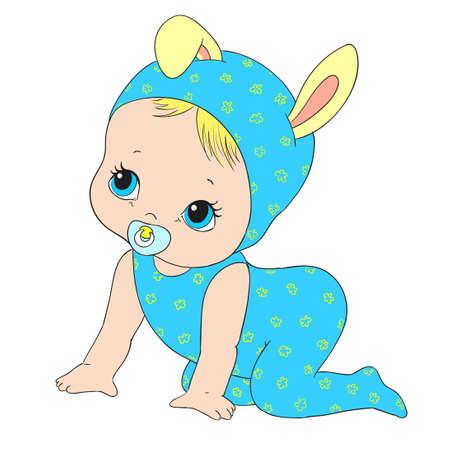 Cute Baby-Charakter. Schätzchen mit Nippel. Vektor-Illustration